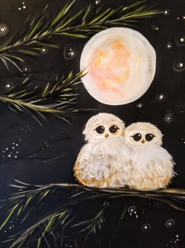 Art Party 0226 - Snow Owls - Paysan Restaurant, Saint Anthony